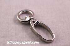 1cm Swivel Push Gate Snap Hooks in Shiny Nickel