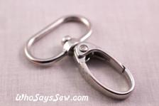 2.5cm Swivel Push Gate Snap Hooks in Shiny Nickel