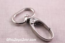 2cm Swivel Push Gate Snap Hooks in Shiny Nickel