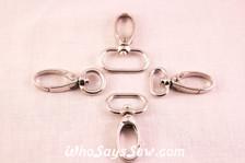 Swivel Push Gate Snap Hooks in Shiny Nickel. 4 sizes