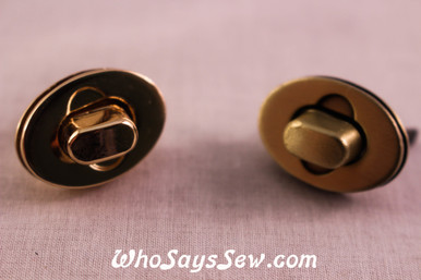 Small Oval Twist Lock in Brushed Antique Brass or Light Gold.
