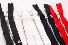 20cm YKK Closed-Ended Silver Aluminium Metal Zipper with Regular Pull. 5 Colours