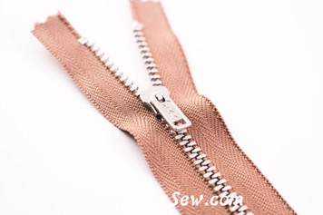 YKK Closed-Ended Silver Aluminium Metal Zipper with Regular Pull. Latte. 10cm-13cm