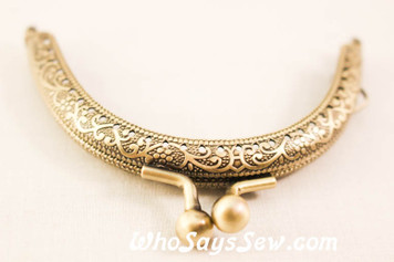 8.5cm Round Antique Brass Purse frame