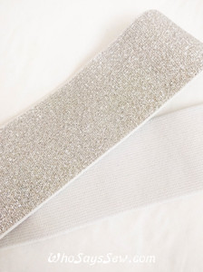 "4cm (1.5"") Wide Soft Silver Sparkly Waistband Elastic- By the Meter"