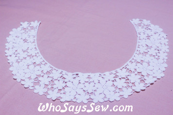 Medium Floral Cotton Lace Collar/Yoke in Snow& Natural White (0669)