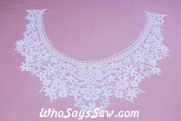 Medium Floral Cotton Lace Collar/Yoke in Snow& Natural White (0742)