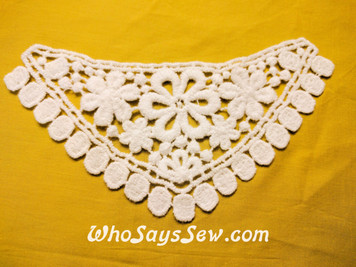 Small Cotton Lace Collar/Yoke in Snow& Natural White (S063)