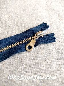 *NEW PRODUCT* YKK Closed-Ended Silver Brass Metal Zipper with Round(Donut) Pull, Navy Tape, 30cm and 50cm