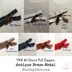 YKK Closed-Ended Antique Brass Metal Zipper with Donut Pull, 30cm