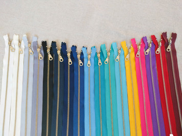 <ALL COLOURS COLLECTION- 17 ZIPPERS> YKK Closed-Ended Silver Brass Metal Zippers with Donut Pulls, 30cm