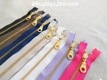 <ALL COLOURS COLLECTION- 7 ZIPPERS> YKK Closed-Ended Golden Brass Metal Zipper with Donut Pull, 30cm
