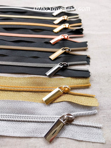 4 ZIPPER SLIDERS/PULLS for Continuous SIZE 5 Nylon Chain Zipper- Antique Brass, Gunmetal, Light Gold or Gold.