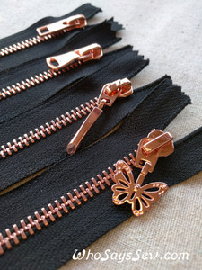 Shiny Rose Gold Metal Teeth Zipper 60cm. Size 5 Closed Ended. 4 Pull Designs.
