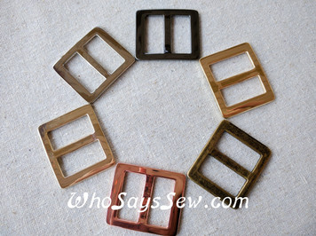 "2x 2.5cm(1"") Alloy Tri Glide Strap Sliders in 6 Finishes"