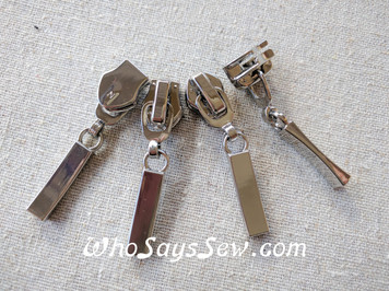 4 ZIPPER SLIDERS/PULLS for Continuous SIZE 5 Nylon Chain Zipper. Unique Shape. 6 Metal Finishes. Nickel free.