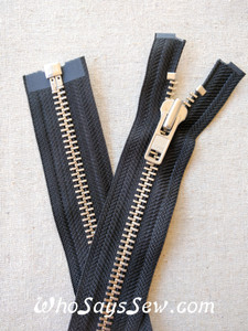 "YKK Size 8 Separating/Open Ended 75cm(30"") Zipper with Silver Brass Metal Teeth. Heavy Weight for Jackets. BLACK Tape"