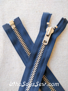 "YKK Size 8 Separating/Open Ended 75cm(30"") Zipper with Silver Brass Metal Teeth. Heavy Weight for Jackets. DARK NAVY Tape"