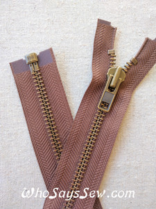"YKK Size 8 Separating/Open Ended 75cm(30"") Zipper with Antique Brass Metal Teeth. Heavy Weight for Jackets. Light Brown Tape"