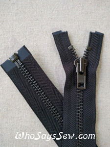 "YKK Size 8 Separating/Open Ended 75cm(30"") Zipper with Gunmetal Metal Teeth. Heavy Weight for Jackets. Black Tape"