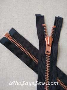 "YKK Size 8 Separating/Open Ended 75cm(30"") Zipper with Copper/Matte Rose Gold Metal Teeth. Heavy Weight for Jackets. Black Tape"
