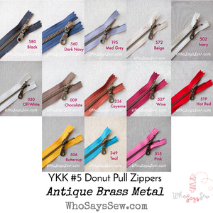 YKK Closed-Ended Antique Brass Metal Zipper with Donut Pull, Size 5, 60cm. 13 Colours