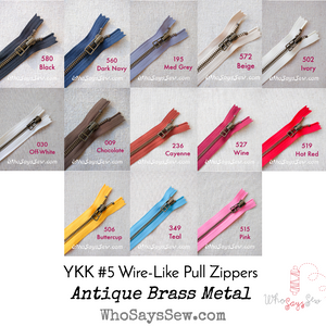 YKK Closed-Ended Antique Brass Metal Zipper with Wire Style Pull, Size 5, 60cm. 13 Colours