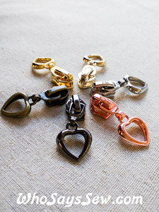 4 ZIPPER SLIDERS/PULLS for Continuous SIZE 5 Nylon Chain Zipper- Heart-Shaped. 6 Finishes. Nickel Free.