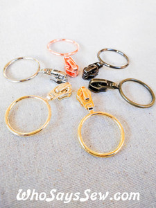 4 ZIPPER SLIDERS/PULLS for Continuous SIZE 5 Nylon Chain Zipper- 3cm BIG RING. 6 Finishes. Nickel Free.