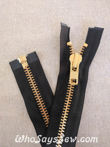 "YKK Size 8 Separating/Open Ended 75cm(30"") Zipper with Golden Brass Metal Teeth. Heavy Weight for Jackets. BLACK Tape"