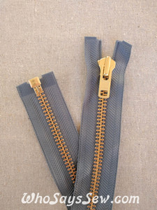"YKK Size 8 Separating/Open Ended 75cm(30"") Zipper with GOLDEN Brass Metal Teeth. Heavy Weight for Jackets. Mid Grey Tape"