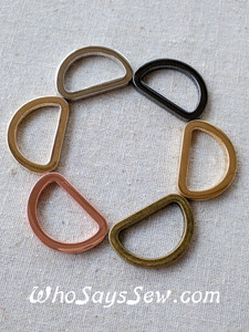 5x 1.5cm, 1.9cm OR 2.5cm Flat Alloy D-Rings in 5 High Quality NICKEL FREE finishes
