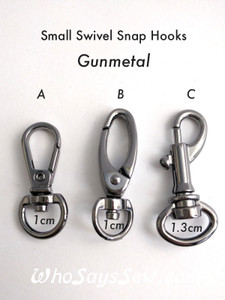 "2x Small Swivel Snap Hooks in Gunmetal. 1cm (3/8"") or 1.3cm (1/2""). Nickel Free"