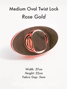 MEDIUM OVAL Twist/Turn Lock in Rose Gold, Gunmetal, Antique Brass, Light Gold. Screw Back. 3.7cm x 2.2cm. High Quality. Nickel Free