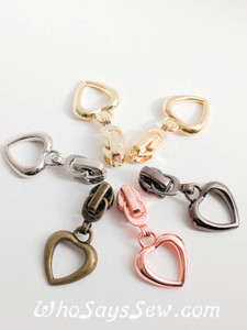 (#3) 4x ZIPPER SLIDERS/PULLS for Continuous SIZE 3 Nylon Chain Zipper- Heart-Shaped. 6 Finishes. Nickel Free.