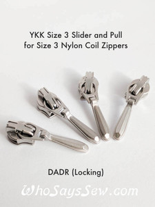 "(#3) 4x YKK ""DADR"" AUTO-LOCK ZIPPER SLIDERS/PULLS for Continuous Nylon Chain Zipper, Silver. Nickel free."