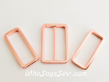"3.2 cm (1 1/4"") Alloy Rectangle Rings and Slider(Tri-Glides). 3 Nickel Free Finishes in Rose Gold, Silver and Gunmetal"