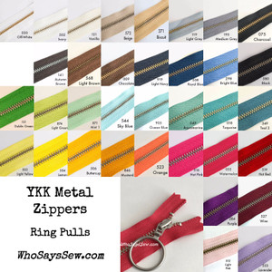 "*CHOOSE 20 ZIPPERS IN 5 COLOURS* 30cm (12"")YKK Closed-Ended Silver Brass Metal Zippers with Ring Pulls. Nickel Free"
