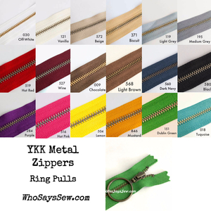 "*CHOOSE 20 ZIPPERS IN 5 COLOURS* 30cm (12"") YKK Closed-Ended Antique Brass Metal Zippers with Ring Pulls. Nickel Free"