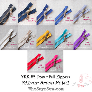 "*CHOOSE 12 ZIPPERS IN 4 COLOURS* 60CM/23.6"" YKK CLOSED-ENDED SILVER BRASS METAL ZIPPER WITH DONUT PULL, SIZE 5. 13 COLOURS"