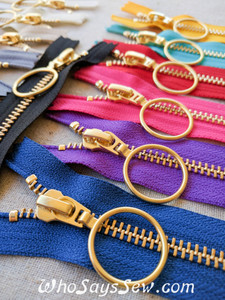 "*CHOOSE 12 ZIPPERS IN 4 COLOURS* 60CM/23.6"" YKK CLOSED-ENDED GOLDEN BRASS METAL ZIPPER WITH RING PULL, SIZE 5. 13 COLOURS"