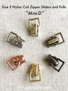 "4 ZIPPER SLIDERS/PULLS for Continuous SIZE 5 Nylon Chain Zipper- ""Mini-D"". 6 Finishes. Nickel Free."
