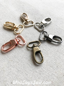 "2x 1.5cm (5/8"") Small Swivel Snap Hooks in Rose Gold, Gunmetal, Silver, Gold, Light Gold, Antique Brass. Nickel Free"