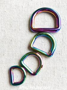 "Rainbow Iridescent Alloy Round Edge D-Rings in 1.25cm(1/2""), 1.5cm (5/8""), 2cm (3/4""), 2.5cm(1"")"