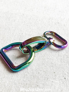 "Rainbow Iridescent Swivel Snap Hook and D-Ring Sets in 1.25cm(1/2""), 1.5cm (5/8""), 2cm (3/4"") or 2.5cm (1"")"