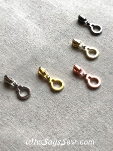 """(#3) 4x ZIPPER SLIDERS/PULLS for Continuous SIZE 3 Nylon Chain Zipper- """"KEYHOLE"""". 5 Finishes. Nickel Free."""