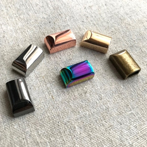 Zipper/Cord Ends. Rainbow Iridescent, Silver, Rose Gold, Gunmetal, Antique Brass and Light Gold. High Quality.