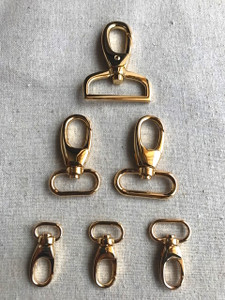 "2x REAL GOLD Swivel Hooks in 1.3cm (1/2""), 1.6cm (5/8""), 2cm (3/4""), 2.5cm (1""), 3.2cm (1 1/4"") and 3.8cm (1 1/2"")"