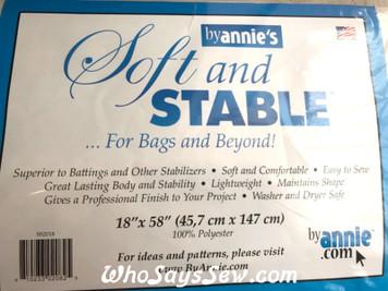 "ByAnnie Soft n Stable Sew-In Foam Interfacing. 18""x 58""/ 46cm x 147.5cm. White/Black"