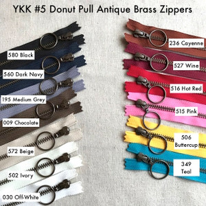 YKK Closed-Ended Antique Brass Metal Zipper with RING Pull, Size 5, 60cm. 13 Colours